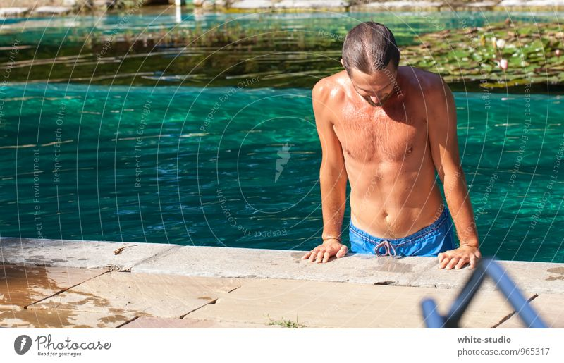 Human being Youth (Young adults) Young man Eroticism 18 - 30 years Adults Life Swimming & Bathing Masculine Wet Swimming pool Athletic Sunbathing Turquoise