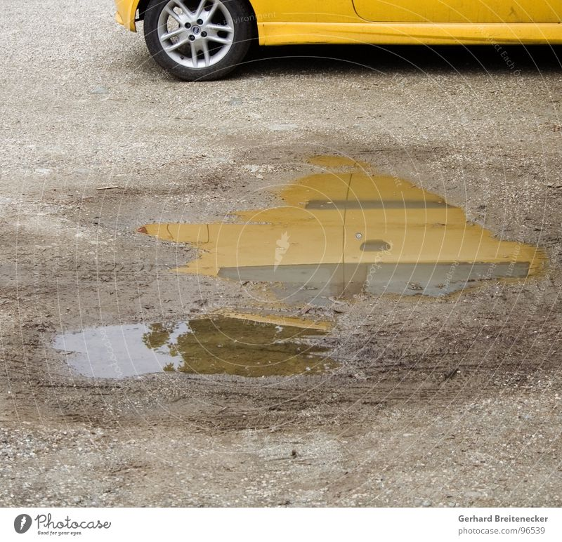 Water Yellow Car Rain Technology Puddle Mirror image Varnish Mud Electrical equipment Wheel rim