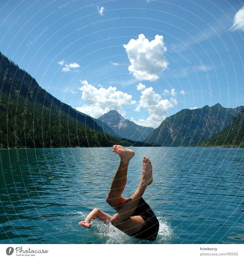Man Hand Water Sky Jump Mountain Feet Lake Legs Watercraft Swimming pool Dive Chest Swimming & Bathing Austria Refreshment