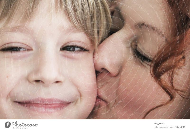 Human being Child Adults Face Warmth Life Emotions Love Boy (child) Blonde Infancy Smiling Friendliness Protection Mother Kissing