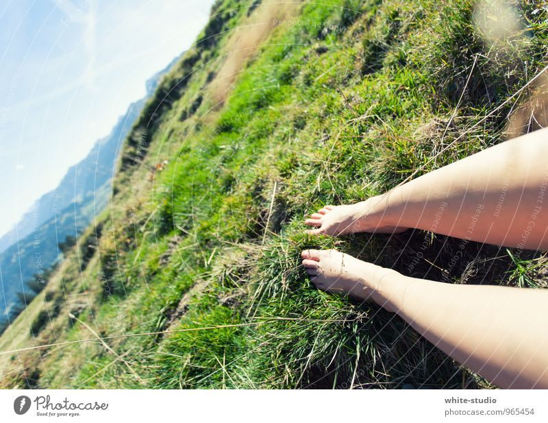 Human being Woman Nature Youth (Young adults) Summer Young woman Relaxation Landscape 18 - 30 years Adults Mountain Meadow Feminine Grass Legs Feet