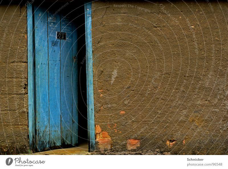 Blue Dark Wall (building) Door Mysterious Gate Brazil Column Gate Front door Salvador de Bahia