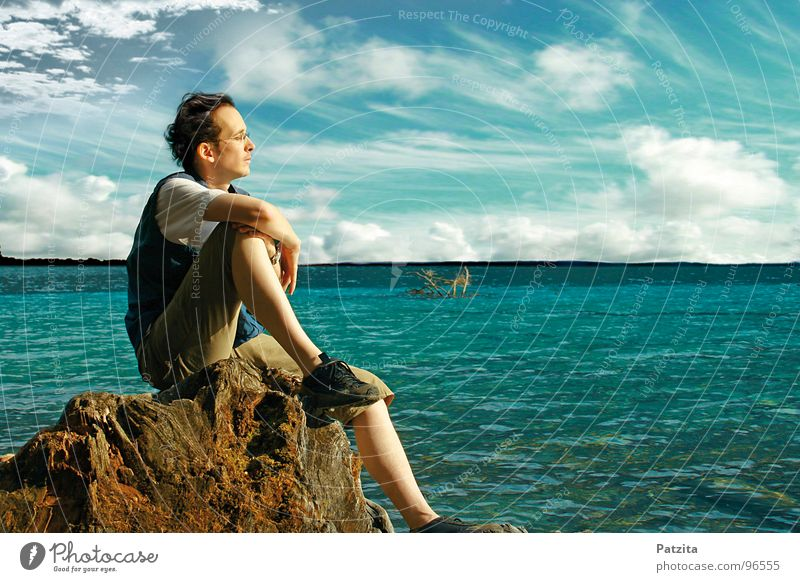 absorbed in thought Man Lake Ocean Clouds Dream Think Relaxation Break Hiking Vacation & Travel Summer Horizon Far-off places Thought To enjoy Wellness