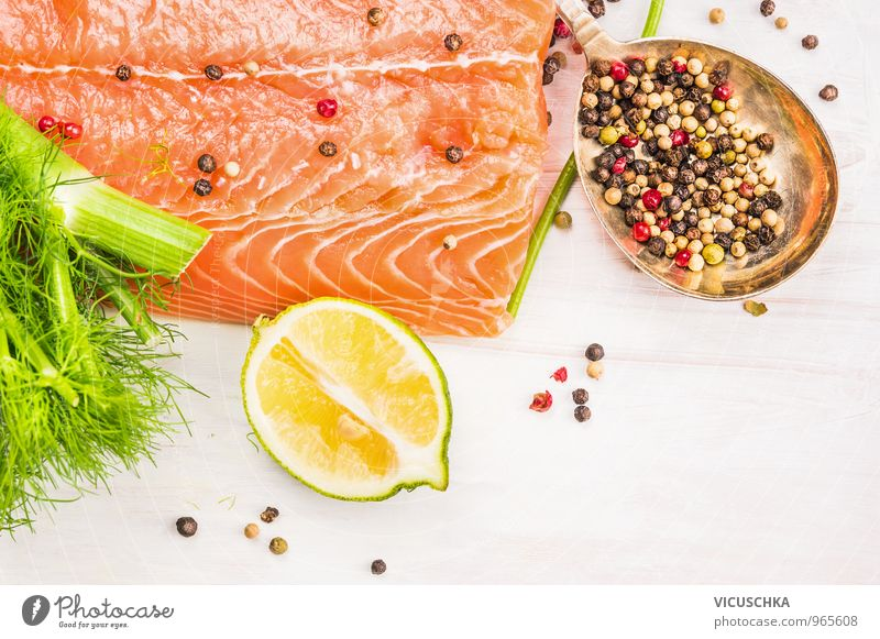 Raw salmon with lemon and spices Food Fish Fruit Herbs and spices Nutrition Organic produce Vegetarian diet Diet Style Design Healthy Eating Kitchen Salmon