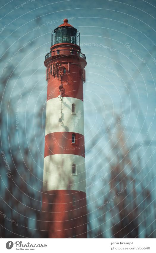 Erection (seen from above) Amrum Germany Fishing village Lighthouse Facade Landmark Illuminate Happy Historic Tall Retro Red White Loyal Friendship Together