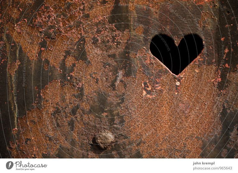 Old Loneliness Calm Wall (building) Love Happy Brown Metal Glittering Idyll Signs and labeling Retro Heart Joie de vivre (Vitality) Romance