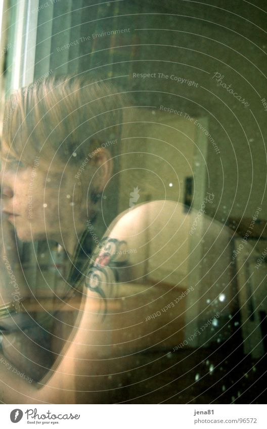 Summer Sunday before the thunderstorm Reflection Window Transparent Portrait photograph Self portrait Think Emotions Woman Transience muse ponder