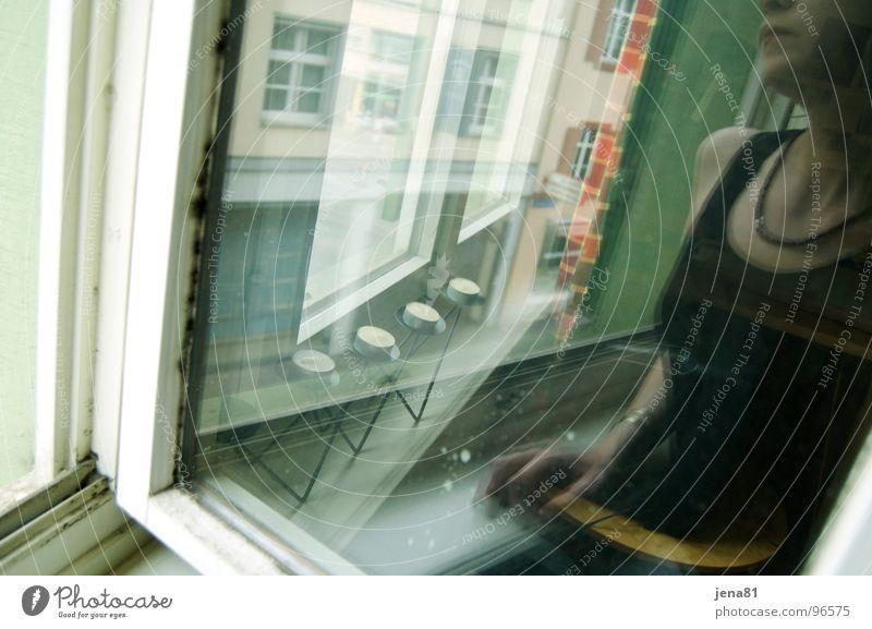 Woman Summer Emotions Window Dream Think Vantage point Longing Thunder and lightning Transparent