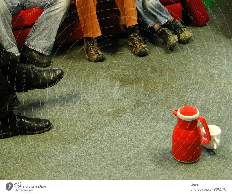 break clown Colour photo Interior shot Cup Sofa Meeting To talk Friendship Legs Feet Group Footwear Break Teapot Thermos coffee pot Study group Assembly