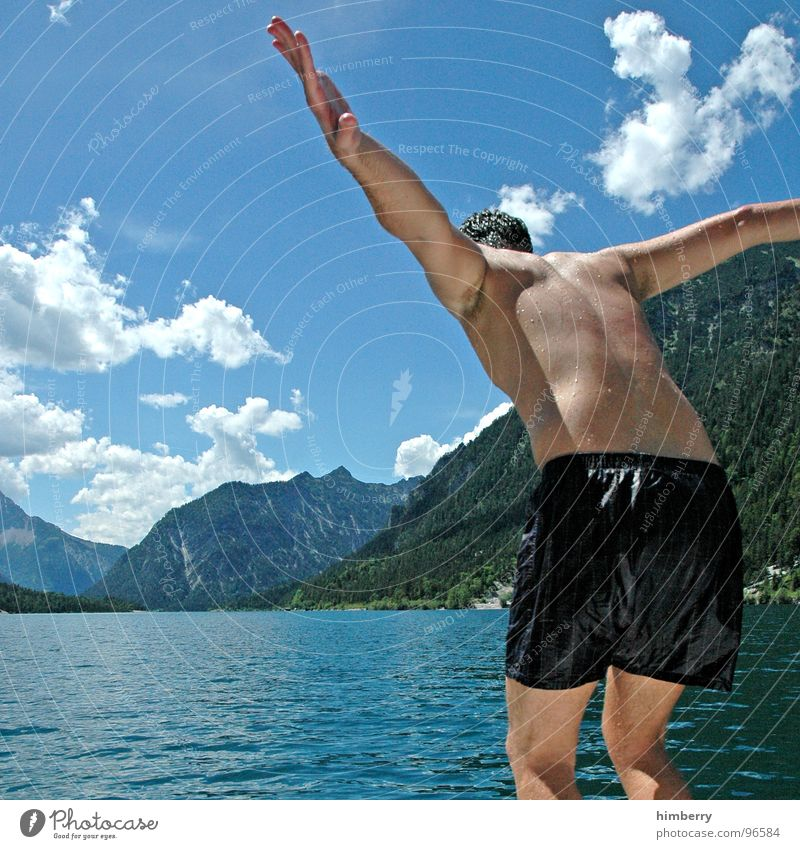 Man Hand Water Sky Jump Mountain Lake Watercraft Swimming pool Hind quarters Dive Chest Swimming & Bathing Austria Refreshment Sailboat