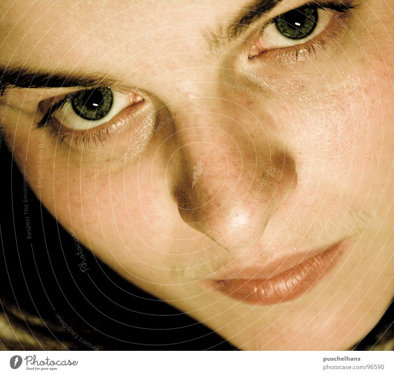 I can see you Woman Earnest Near Concentrate Face Looking Eyes Mouth Nose Skin Think