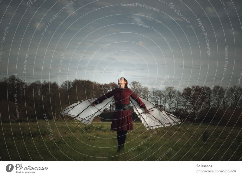 Dream of flying. Trip Adventure Far-off places Freedom Human being Feminine Woman Adults 1 Environment Nature Landscape Sky Clouds Horizon Meadow Field