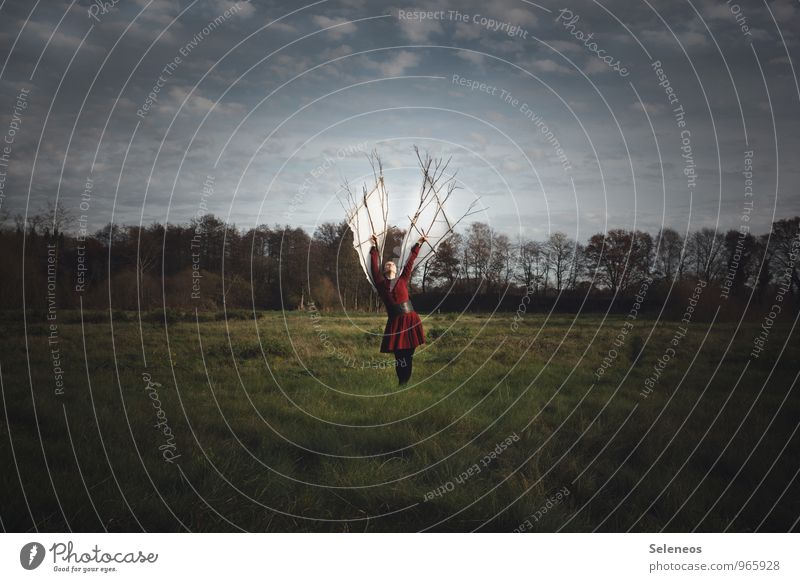 Freedom. The target. Trip Adventure Far-off places Human being Feminine Woman Adults 1 Environment Nature Landscape Sky Clouds Meadow Field Discover Flying