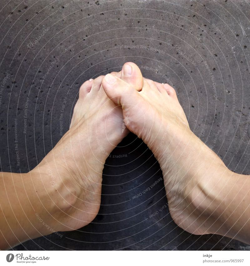 Human being Beautiful Emotions Feet Lifestyle In pairs Communicate To hold on Barefoot Shame Toes Senses Reluctance Inhibition Sheepish Embarrassing