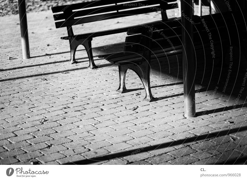 benches Places Ground Bench Playground Sit Dark Break Stagnating Shadow play Black & white photo Exterior shot Deserted Copy Space left Copy Space bottom Day