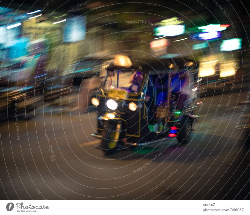 Tuk Tuk Town Means of transport Street Tuc-Tuc Speed Exotic Tourism Logistics Thailand Asia Bangkok Taxi Exterior shot Night Motion blur