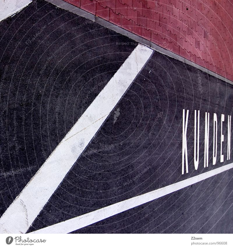 White Red Black Style Line Concrete Signs and labeling Modern Characters Letters (alphabet) Store premises Parking lot King Tar Graphic Road traffic