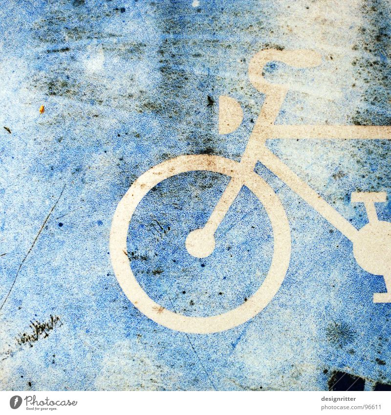 broken on the wheel Cycle path Bicycle Old Dirty Bleached Symbols and metaphors Street sign Signs and labeling Blue smutty Scratch stylized