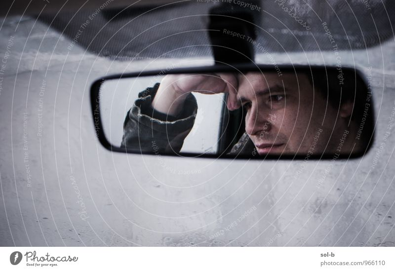 rrwndw Masculine Young man Youth (Young adults) Face Hand 1 Human being 18 - 30 years Adults Bad weather Rain Motoring Traffic jam Vehicle Car Mirror Glass