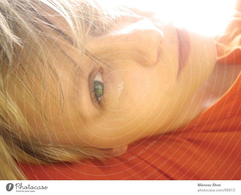 When the first sunshine falls on her hair, ... Woman Girl Blonde Green Summer Joy Sun Lie Eyes Orange sweatshirt Face
