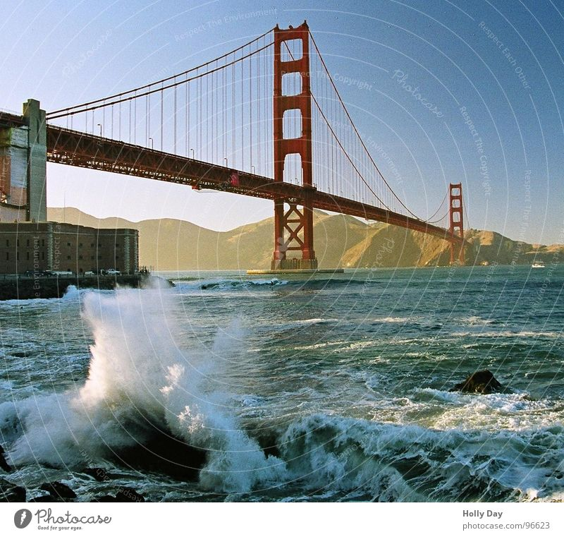 Waves at the Golden Gate Golden Gate Bridge Red Steel Swell Ocean San Francisco Foam Surfer Coast Dream Suspension bridge Blue sky USA