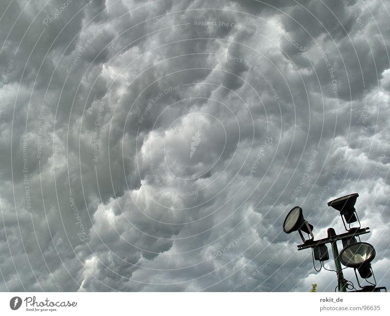 Sky Clouds Dark Black Yellow Warmth Lamp Bright Rain Fear High-rise Dangerous Wet Threat Protection Illuminate