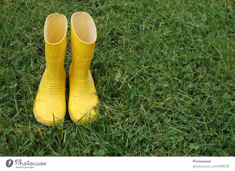 rain?... Rubber boots Yellow Meadow Green Dry Empty Deserted Drown Footwear Loneliness Helpless Clothing Contrast Rain not full no friends left in the lurch