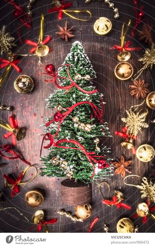 Christmas card with fir tree, gold and red Christmas decorations Lifestyle Style Design Leisure and hobbies Winter Flat (apartment) Christmas & Advent