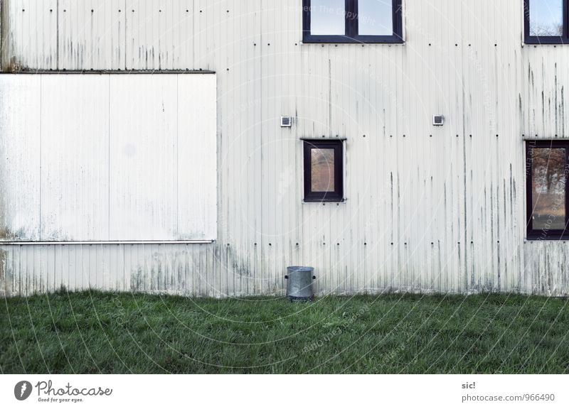 """the wall House (Residential Structure) """"Sports home Clubhouse Grass Meadow Wahrenberg Building Warehouse Wall (barrier) Wall (building) Facade Window Glass Line"""