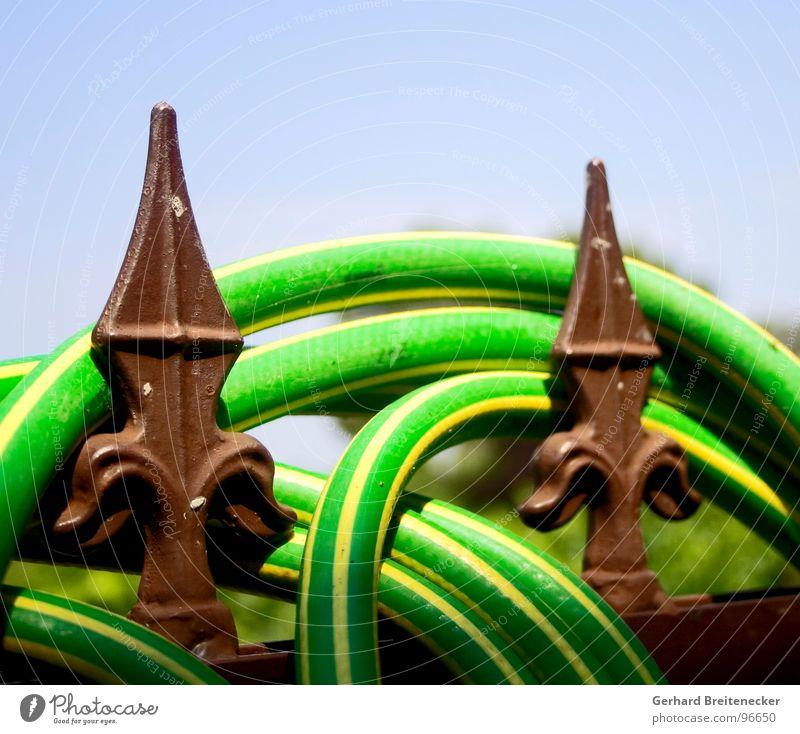 siesta Garden fence Fence Hose Garden hose Green Yellow Striped Physics Summer Relaxation wrap Point Warmth