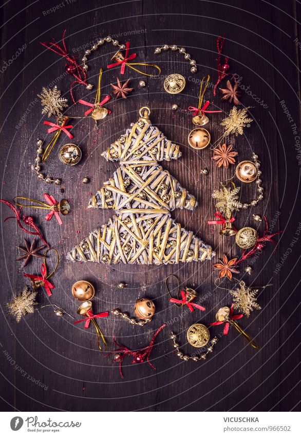 Golden Christmas Tree and Bell Decoration Style Design Leisure and hobbies Winter Flat (apartment) Interior design Event Christmas & Advent Wood Sign Ornament