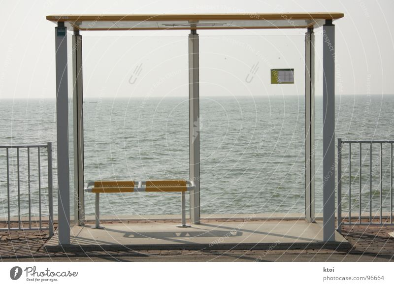 Water Beautiful Ocean Blue Clouds Yellow Gray 2 Wait Architecture Glass Wind Signs and labeling Bench Roof Asphalt