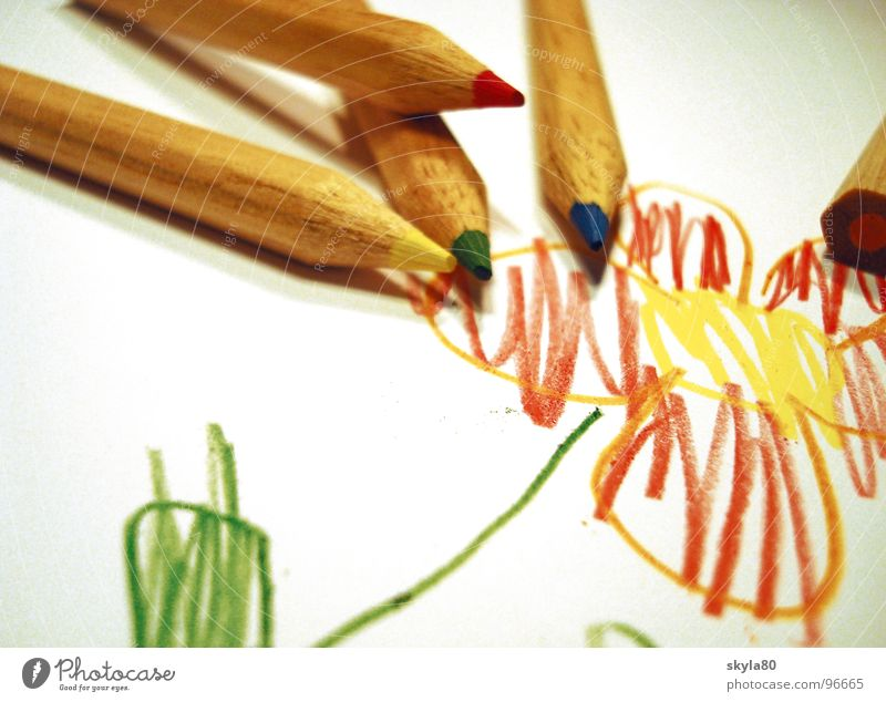 Kunterbunt Children's drawing Drawing Multicoloured Write Sharpened Childhood memory Paper Leisure and hobbies Conceptual design flowers Creativity