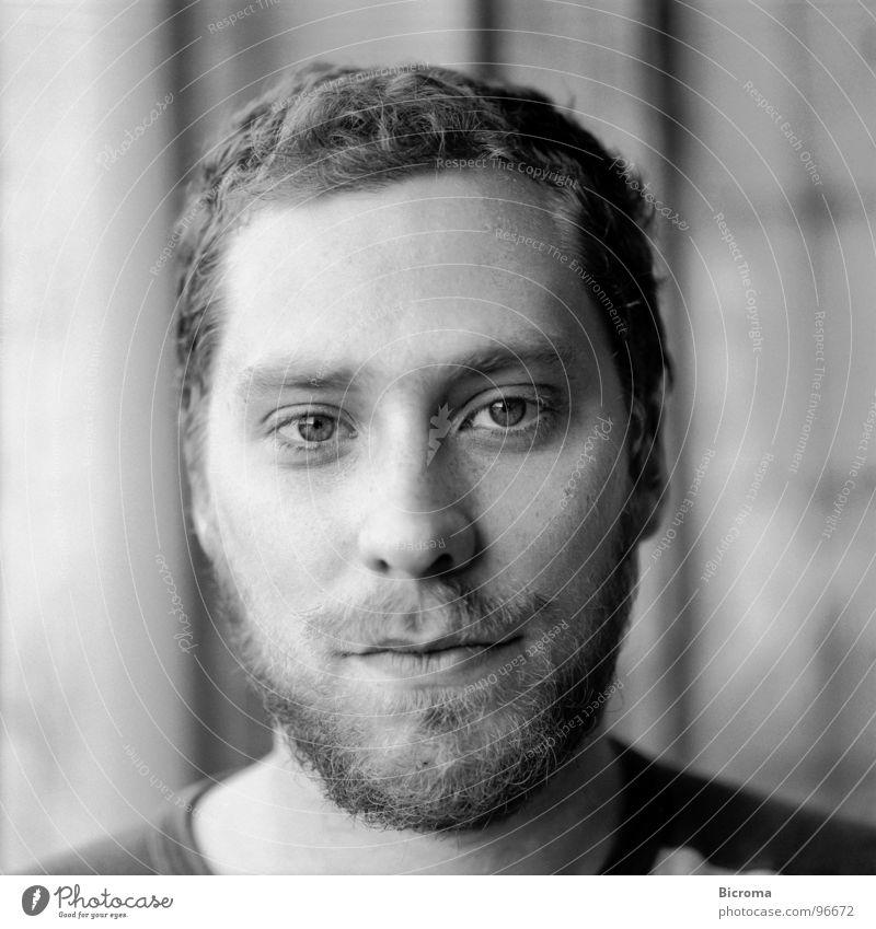 portrait Portrait photograph Medium format Facial hair University & College student Man Black & white photo Looking architect Painter