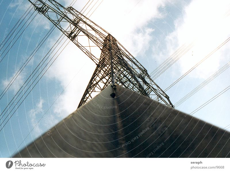 Sky Clouds Architecture Energy industry Perspective Electricity Tower Technology Cable Manmade structures Construction Electricity pylon Tension Wire