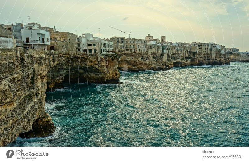 al Mare Polignano a Mare Italy Apulia Village Fishing village Small Town Port City Old town Deserted Building Discover Rock Ocean Waves Surf Rough Colour photo