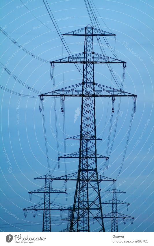 Sky Blue Clouds Yellow Power Force Energy industry Electricity Cable Steel Electricity pylon Construction Transmission lines Climate change Electricity generating station Overhead line