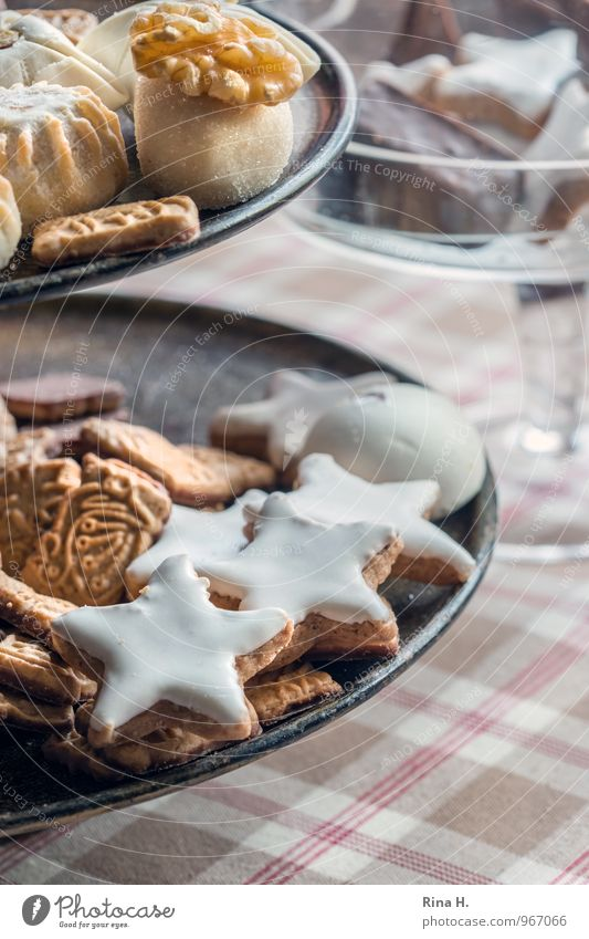 Sweet Delicious Crockery Plate Baked goods Dough Tablecloth Cookie Christmas biscuit Etagere