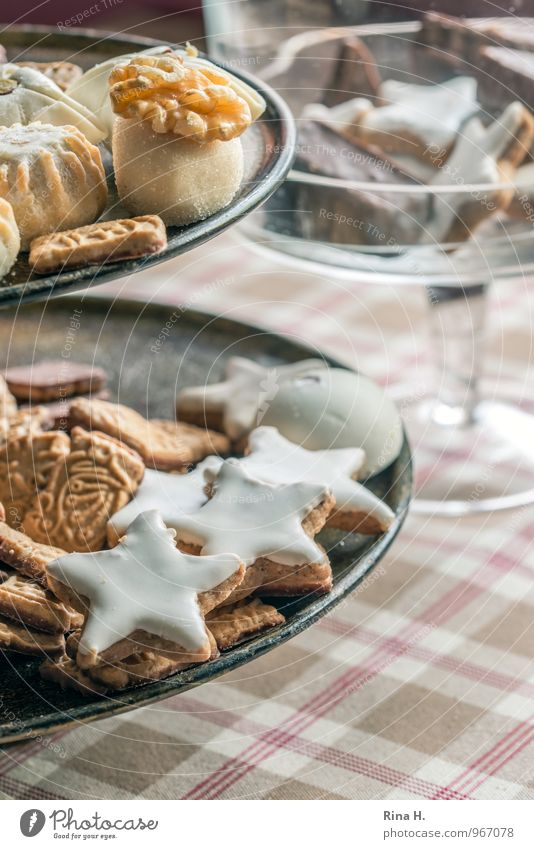 Sweet Delicious Candy Crockery Checkered Baked goods Dough Tablecloth Christmas biscuit Star cinnamon biscuit Etagere