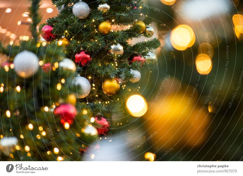 Christmas & Advent Tree Lighting Feasts & Celebrations Decoration Illuminate Kitsch Christmas tree Fir tree Glitter Ball Christmas decoration Christmas Fair