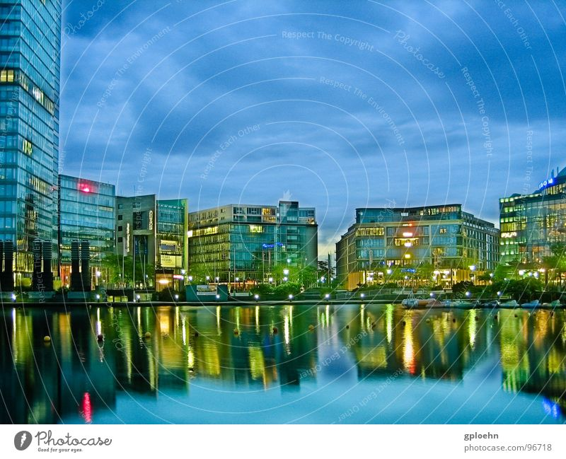 Water Clouds Lake Building Modern Cologne Night Mediapark