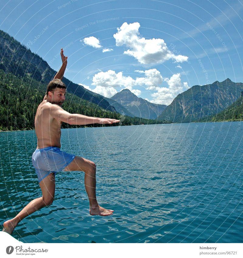 Man Water Hand Mountain Jump Lake Watercraft Swimming & Bathing Swimming pool Dive Refreshment Austria Sailboat Aquatics Pedalo