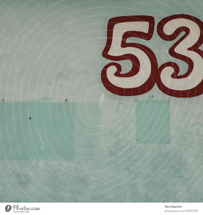 53 Manmade structures Building Wall (barrier) Wall (building) Digits and numbers Old Retro Trashy Gloomy Red Turquoise White Tracks Piece of paper Remainder