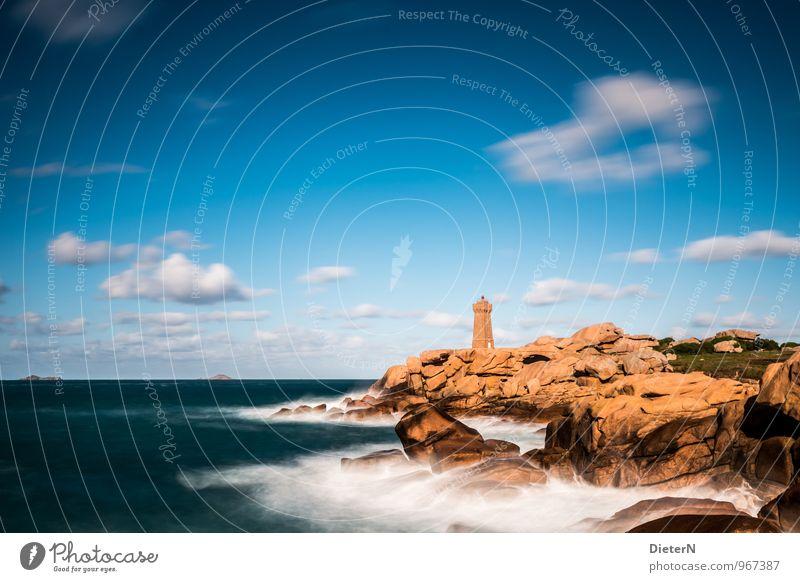 rocky coast Nature Landscape Sky Clouds Sun Sunlight Weather Beautiful weather Wind Rock Waves Coast Bay Ocean Atlantic Ocean Cote de Granit Rose Deserted