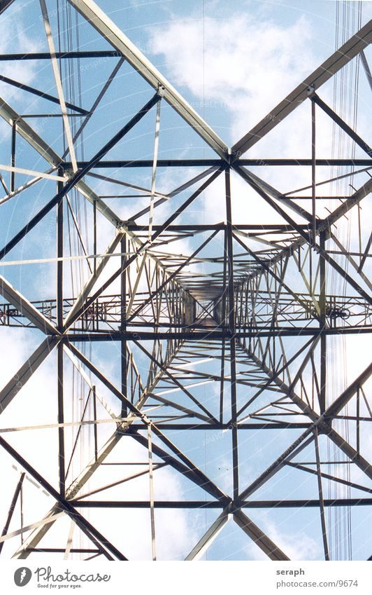 Sky Clouds Architecture Energy industry Perspective Energy Electricity Tower Technology Cable Manmade structures Construction Electricity pylon Tension Wire High voltage power line