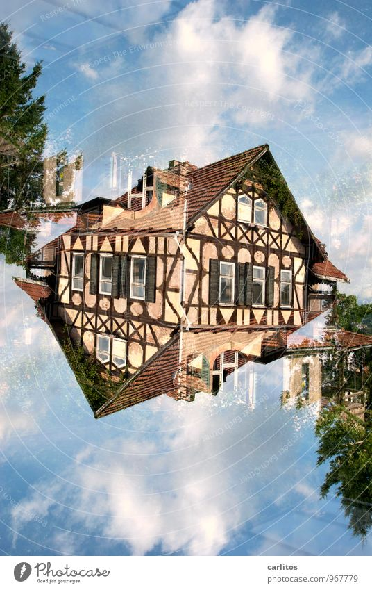 Double, straight Half-timbered facade Double exposure Old Derelict Eisenach Blue Brown Roof Window Facade Old town Redecorate Redevelop Old building