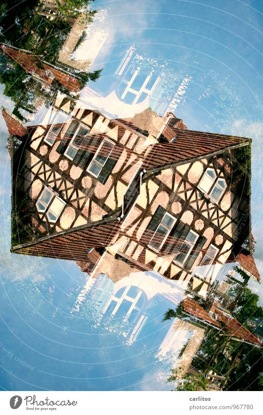 Old Blue Window Brown Facade Roof Derelict Old town Double exposure Redecorate Old building Redevelop Half-timbered facade Eisenach
