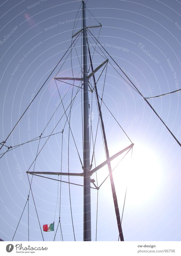 Sun Rope Beautiful weather Geometry Graphic Blue sky Partially visible Mast Section of image Sailing ship Sky blue Maritime Rigging Light blue Lee Ahoy