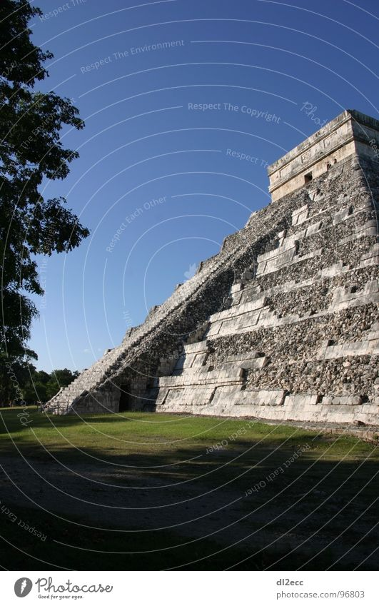Great pyramid in Chichen Iza Ramp Architecture Pyramid Blue sky Stairs staircase structure afternoon mood