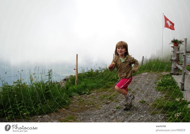 swiss ice skating Girl Child Switzerland Flag Grass Meadow Joy Ice Mountain Alpine pasture Lanes & trails Walking Patch hag
